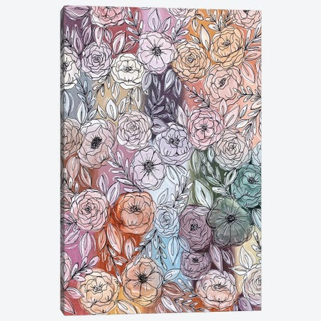 Pastel Rainbow Florals Canvas Print #KBY9} by Katie Bryant Canvas Wall Art