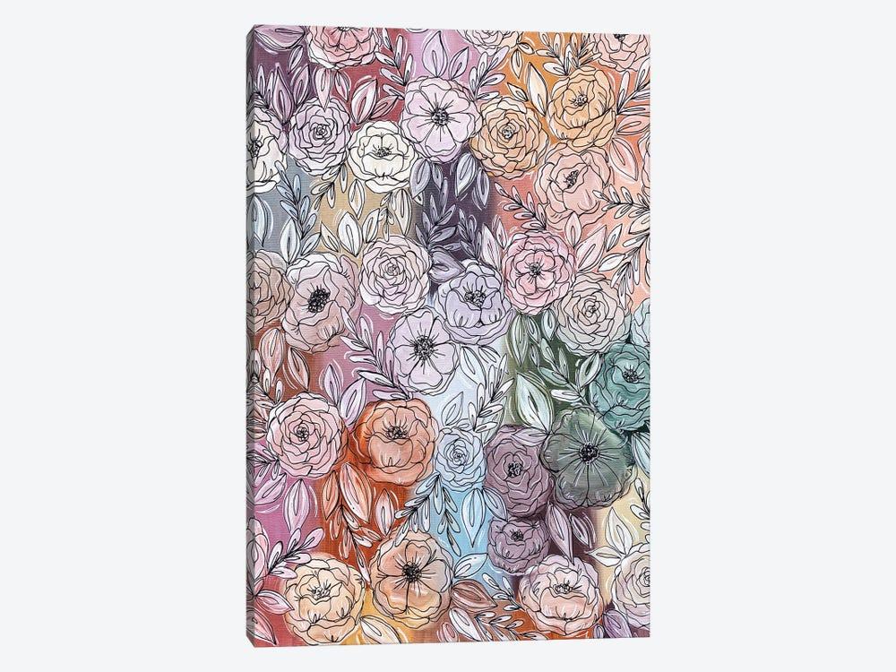 Pastel Rainbow Florals by Katie Bryant 1-piece Canvas Art Print