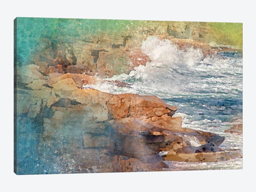 Splashy Bar Harbor Waves by Kevin Clifford 1-piece Canvas Art Print