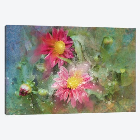 Splashy Red Floral Canvas Print #KCF25} by Kevin Clifford Art Print