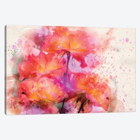Splashy Red Roses Canvas Print #KCF33} by Kevin Clifford Art Print