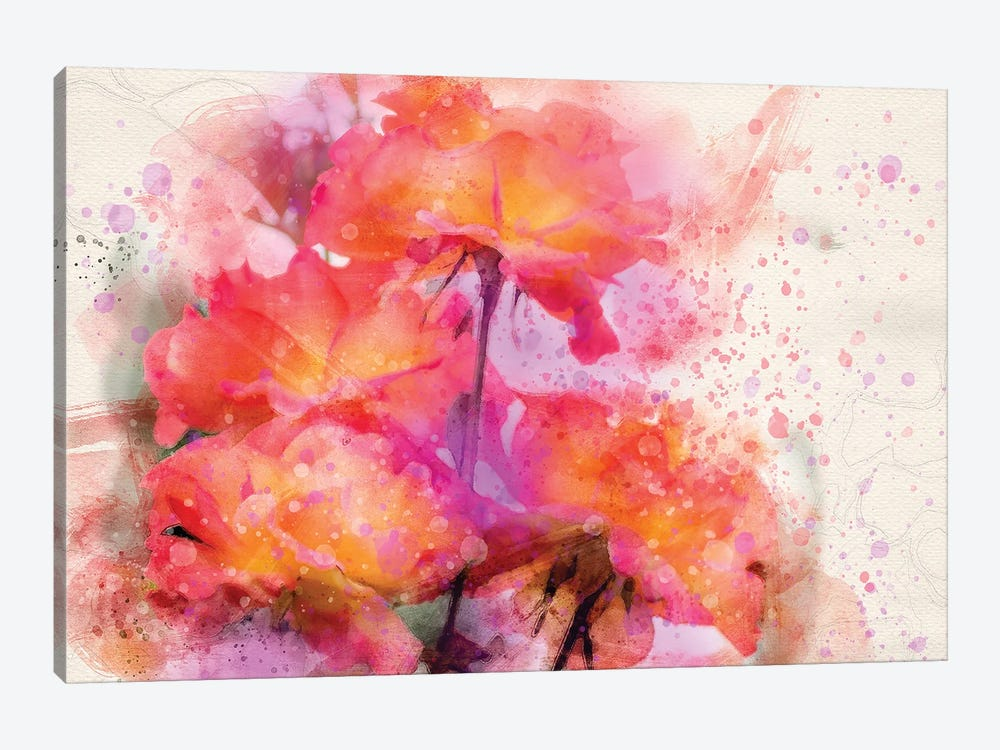 Splashy Red Roses by Kevin Clifford 1-piece Canvas Wall Art