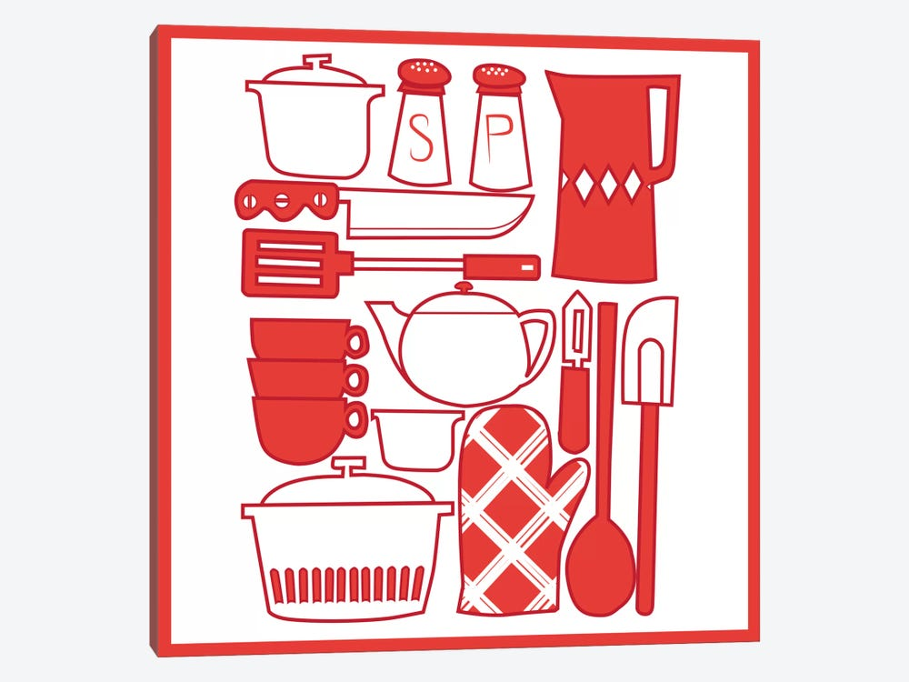 Kitchenware Collage by iCanvas 1-piece Canvas Wall Art