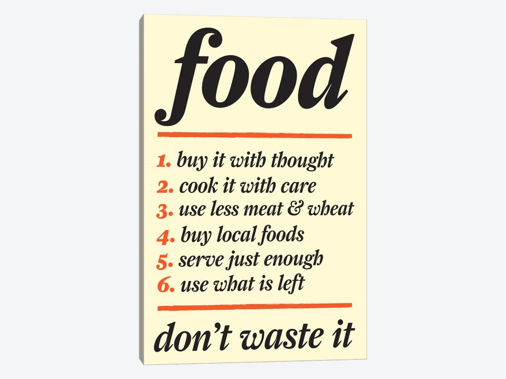 Don't Waste Food by Unknown Artist 1-piece Canvas Wall Art