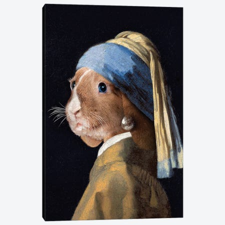The Rabbit with a Pear Earring Canvas Print #KCQ36} by Karen Cantuq Canvas Print