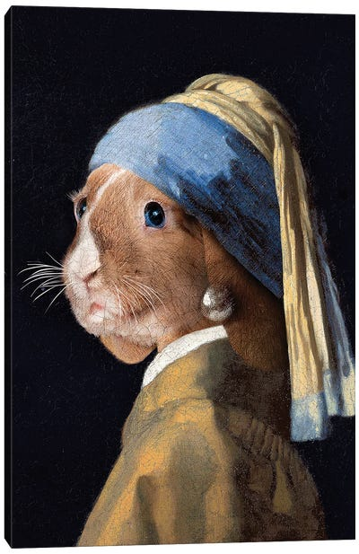 The Rabbit with a Pear Earring Canvas Art Print