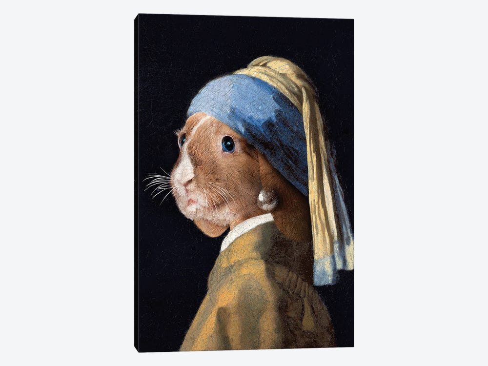 The Rabbit with a Pear Earring by Karen Cantuq 1-piece Canvas Art Print
