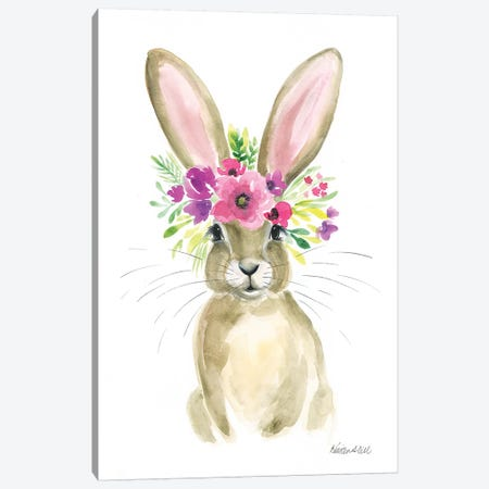 Floral Bunny Canvas Print #KDI11} by Kirsten Dill Canvas Art Print