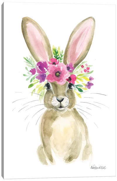 Floral Bunny Canvas Art Print