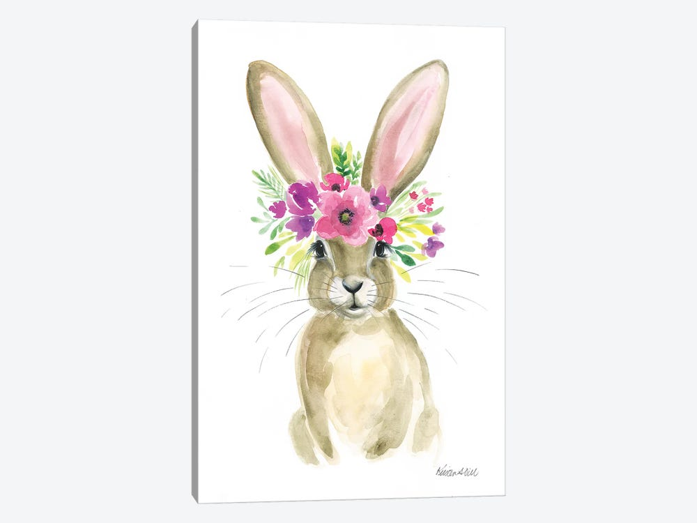 Floral Bunny by Kirsten Dill 1-piece Canvas Wall Art