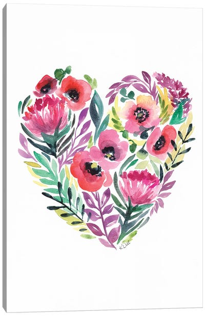 Flower Heart Canvas Art Print