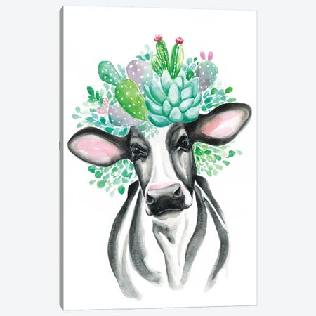 Cactus Cow Canvas Print #KDI4} by Kirsten Dill Canvas Wall Art