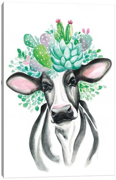 Cactus Cow Canvas Art Print