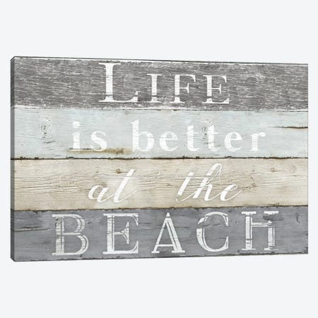 Life Better Beach Canvas Print #KDO19} by Kelly Donovan Art Print