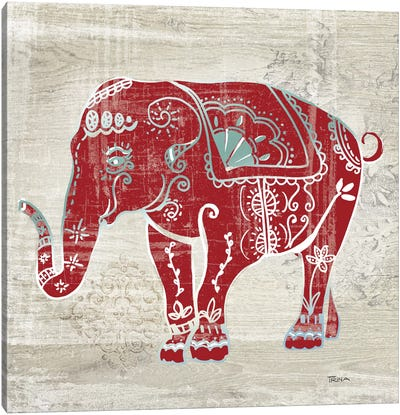 Painted Elephant Canvas Art Print