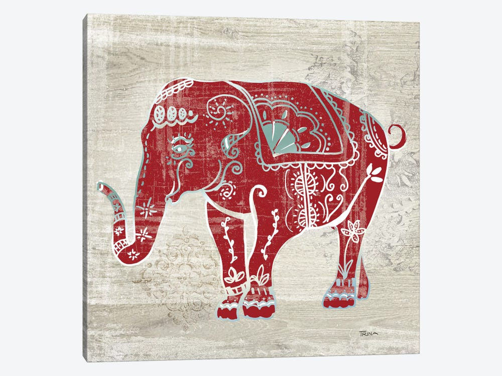 Painted Elephant 1-piece Canvas Art