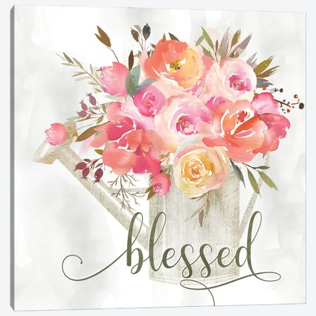 Simple Blessed Floral Canvas Print #KDO33} by Kelly Donovan Canvas Print