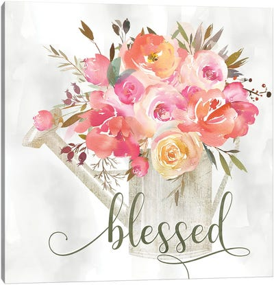 Simple Blessed Floral Canvas Art Print