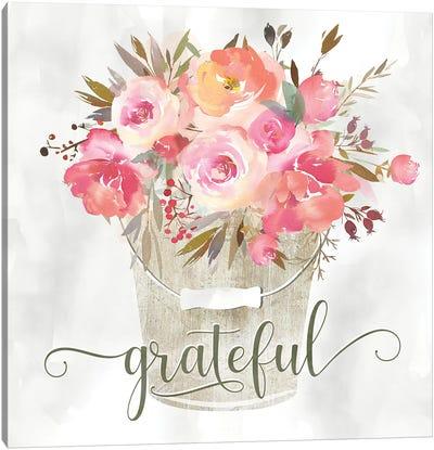 Simple Grateful Floral Canvas Art Print