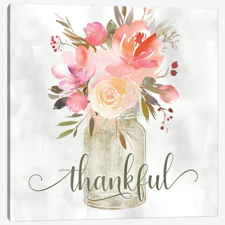 Simple Thankful Floral Canvas Print #KDO35} by Kelly Donovan Canvas Art