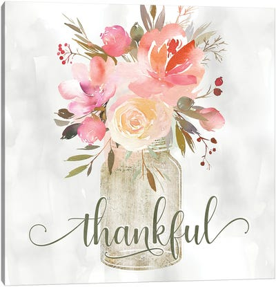Simple Thankful Floral Canvas Art Print
