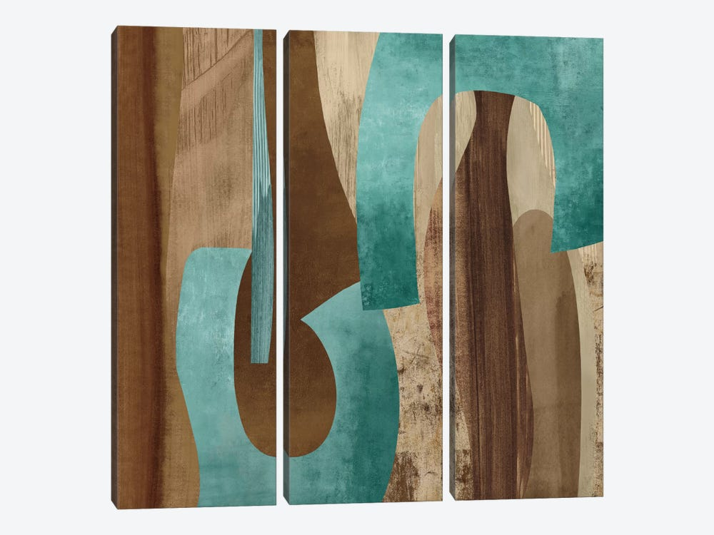 Aqua Turns I by Kevin Baker 3-piece Canvas Wall Art
