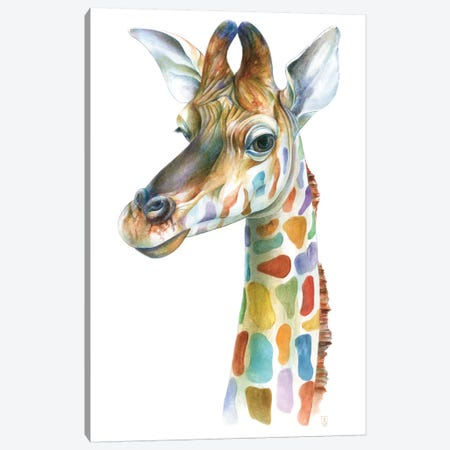 Colorful Giraffe Canvas Print #KEE5} by Brandon Keehner Canvas Art Print