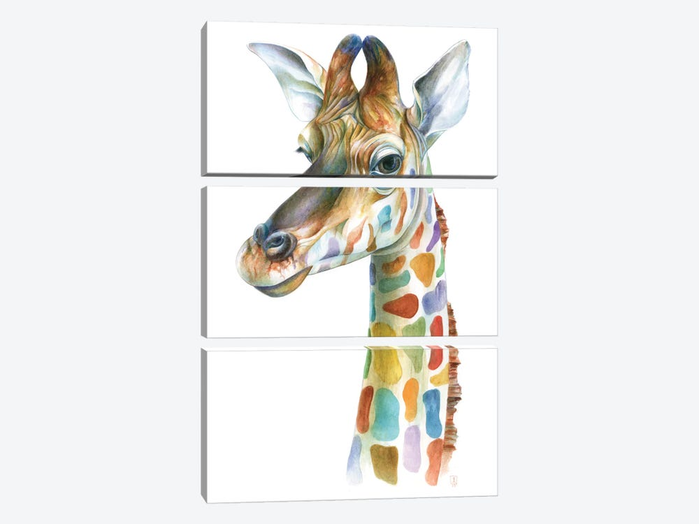 Colorful Giraffe by Brandon Keehner 3-piece Canvas Artwork