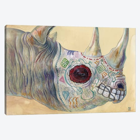 Day of the Dead Rhino Canvas Print #KEE6} by Brandon Keehner Canvas Print