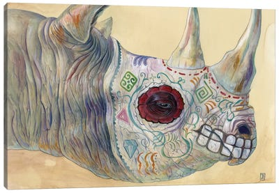 Day of the Dead Rhino Canvas Art Print
