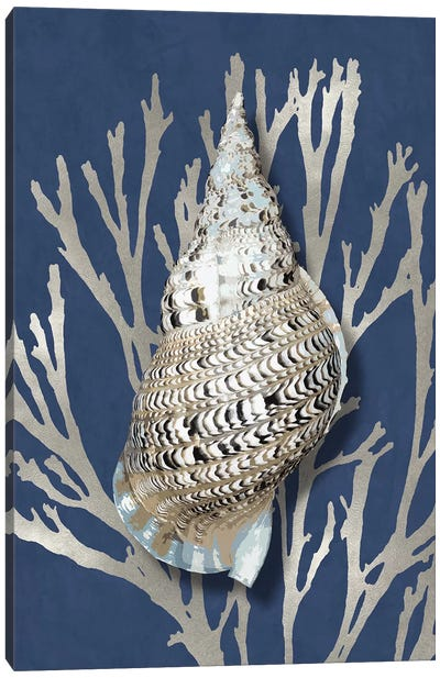 Shell Coral Silver on Blue I Canvas Art Print