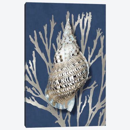 Shell Coral Silver on Blue I Canvas Print #KEL82} by Caroline Kelly Canvas Art