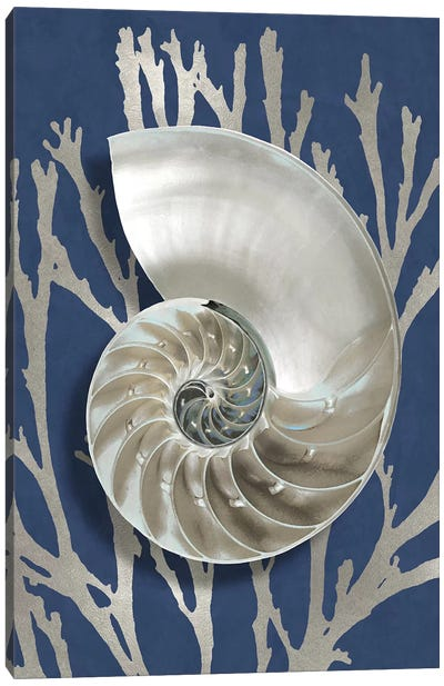 Shell Coral Silver on Blue II Canvas Art Print