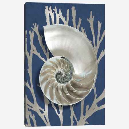 Shell Coral Silver on Blue II Canvas Print #KEL83} by Caroline Kelly Canvas Art