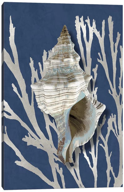 Shell Coral Silver on Blue III Canvas Art Print