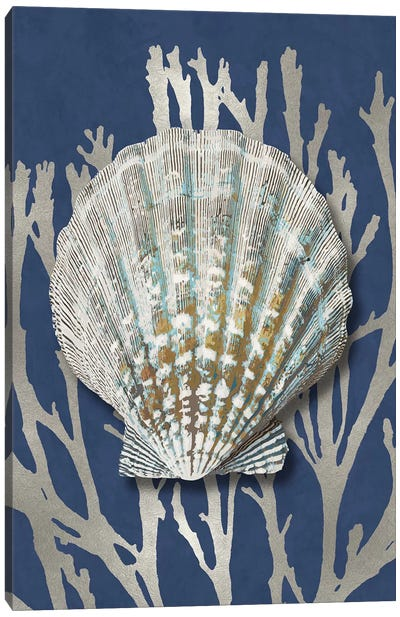 Shell Coral Silver on Blue IV Canvas Art Print