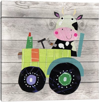 Tractor Cow Canvas Art Print