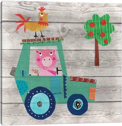 Tractor Pig Canvas Art Print