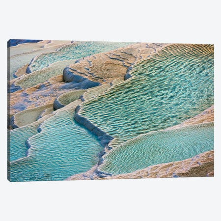Travertine terraces of Pamukkale (UNESCO World Heritage Site), Turkey Canvas Print #KES102} by Keren Su Canvas Wall Art
