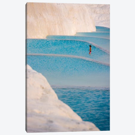 Young girl on travertine terraces of Pamukkale, Turkey Canvas Print #KES109} by Keren Su Canvas Wall Art