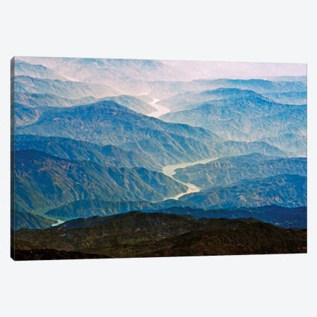 Aerial view of Irrawaddy River winding through the mountain, South Asia Canvas Print #KES111} by Keren Su Art Print