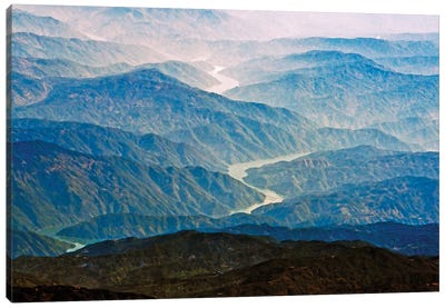 Aerial view of Irrawaddy River winding through the mountain, South Asia Canvas Art Print