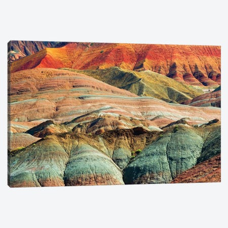 Colorful mountains in Zhangye National Geopark, Zhangye, Gansu Province, China Canvas Print #KES112} by Keren Su Canvas Print