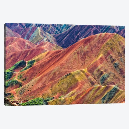 Colorful mountains in Zhangye National Geopark, Zhangye, Gansu Province, China Canvas Print #KES113} by Keren Su Canvas Art Print