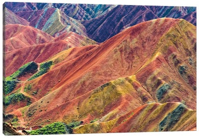 Colorful mountains in Zhangye National Geopark, Zhangye, Gansu Province, China Canvas Art Print