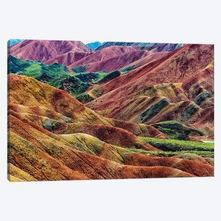 Colorful mountains in Zhangye National Geopark. Zhangye, Gansu Province, China. Canvas Print #KES114} by Keren Su Canvas Artwork
