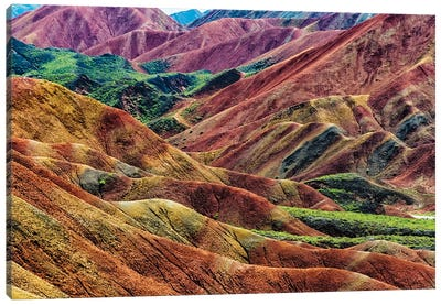 Colorful mountains in Zhangye National Geopark. Zhangye, Gansu Province, China. Canvas Art Print