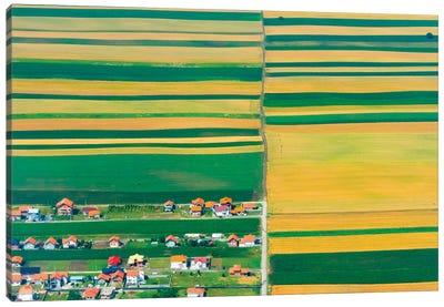 Aerial view of farmland, Belgrade, Serbia Canvas Art Print