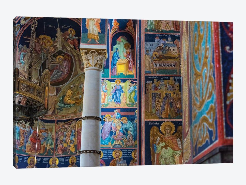 Mosaic painting inside Oplenac Royal Mausoleum, also known as Saint George's Church, Topola, Serbia. by Keren Su 1-piece Canvas Wall Art