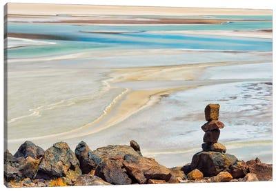 Laguna Salar de Talar with rock pile, San Pedro de Atacama, Antofagasta Region, Chile Canvas Art Print